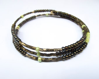 Memory Wire | Copper | Brown | Green | Seed Bead Bracelet | Gift for Teen | Gift for Girl | Gift for Her