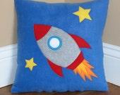 Blast Off Rocket Ship Pillow