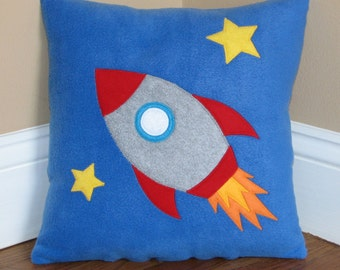 Blast Off Rocket Ship Pillow