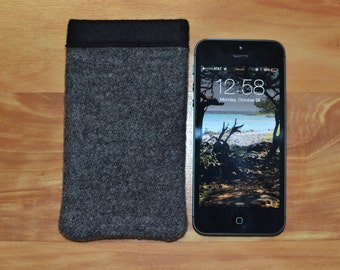 Classic Basic Grey WOOL iPhone sleeve, cover, case, wallet - SE 5 5s - Northwest Portland Oregon Wool - iPhone cases covers sleeves