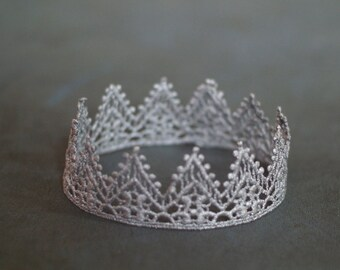 Newborn Crown, Baby Hand painted Silver Lace Crown, Newborn Photography Prop, Lace Crown, Baby Crown