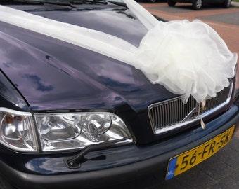 Wedding Car Decoration Organza Ribbons & Bow. Wedding Car Decoration