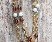 Vintage Gold Metal, Glass, Pearl  Layering Necklace