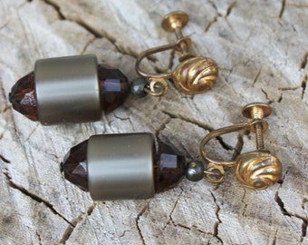 Vintage Root Beer Mod Clip On Earrings