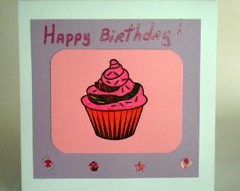 Birthday Card - Cupcake, little kids birthday card, handmade cupcake card, purple and pink