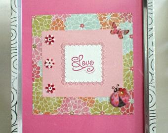 8x10 Embellished Photo Frame, custom made photo frame, embellished, love wall art decor, for any occasion, pink photo frame