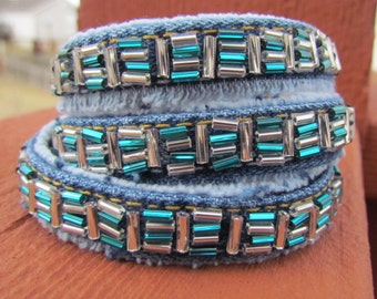 Bracelet - Triple Wrap Hand Beaded Denim - Recycled Jeans - Teal Green and Silver - Upcycled