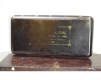 Vintage Depression Era Black Metal Bank Box // .... Mutual Company of Iowa