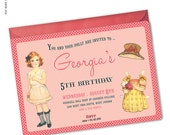 Paper Doll Party - Custom printable invitation (Penny Paper Doll Collection)