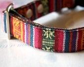 Ethnic Tribal colorful striped woven Dog Collar-pink, purple, dark blue