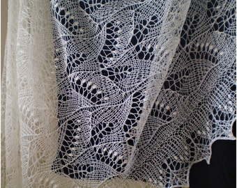 Hand knitted wedding stole, traditional Estonian lace, heirloom, Haapsalu shawl with nupps, soft cobweb merino CUSTOM MADE