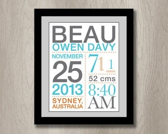 Newborn Birth Announcement Poster with Stats: You choose colors - 11x14 inches nursery wall art