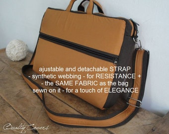 Customizable Laptop bag for Color Fabric and Size- Laptop COMPARTMENTS with 7 interior Pockets-FullyPADDED-WATERPROOF lining-exterior Pocket