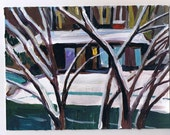 "Original Painting, Snow Day, signed art, 6 x 8"""