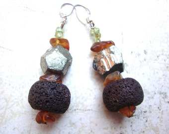 Pyrite,agate,amber glass,volcanic stone,peridot with sterling silver earhooks