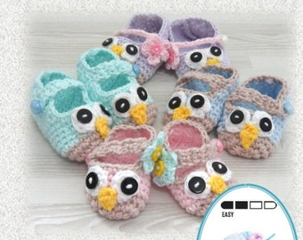 Instant Download VKNC426 Baby Owl Shoes Boy or Girl Crochet Pattern instructions to make unisex PDF  pattern