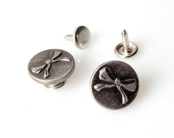10 sets 17 mm Buttons denim  No Sew  jeans tack Metal buttons  Antique silver button fastener with manual - Ribbon
