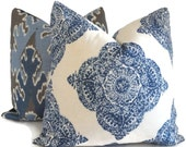 Indigo and White Wood Block Decorative Pillow Cover  18x18, 20x20, 22x22, 14x20 or 12x24  Duralee Mani