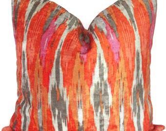 Iman Orange Velvet Ikat Chevron Decorative Pillow Cover, Lumbar pillow Throw Pillow, Accent Pillow, Toss Pillow