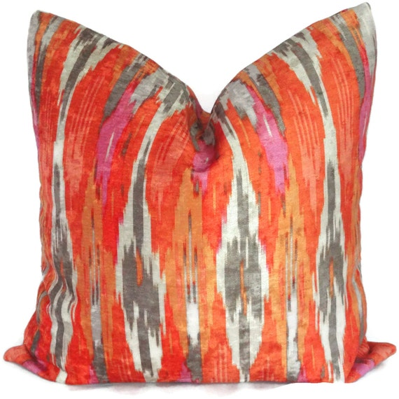 Iman Orange Velvet Ikat Chevron Decorative Pillow Cover