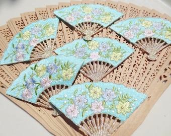 Fan Aqua Appliques Flowers Embroidered Supplies Trim (24)