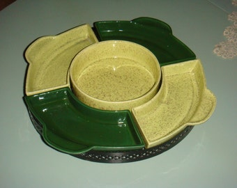 Mid Century Modern California Pottery Lazy Susan Server Forest Green Speckled Yellow with Black Metal Base