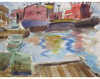 The Tugs of Belfast Maine    -  an Original Watercolor