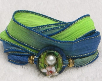 Silk Ribbon, Whirly Wrap, Wrap Bracelet, neon lime green,  denim blue, stunning green Cloisonné accent, pearl, easy secure magnet