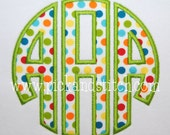 Circle Monogram Font Satin Applique Design Machine Embroidery INSTANT DOWNLOAD