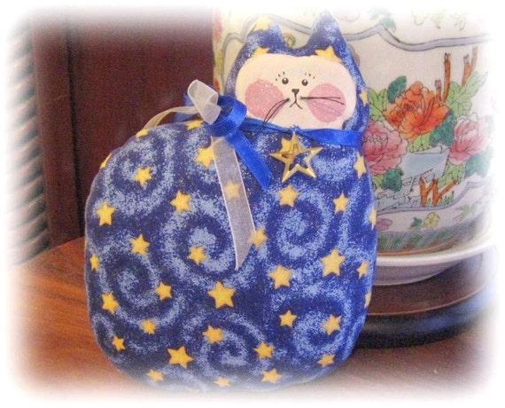 CAT Pillow Doll 7 inch Soft Sculpture, Cloth Doll, BLUE, STARS, Prim Primitive Handmade CharlotteStyle Decorative Folk Art