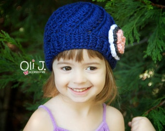 Girls Shells and Swirls Beanie - Made to Order - Newborn Infant Toddler Preteen