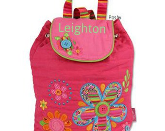 Personalized Girl Backpack Stephen Joseph Quilted Signature Flower