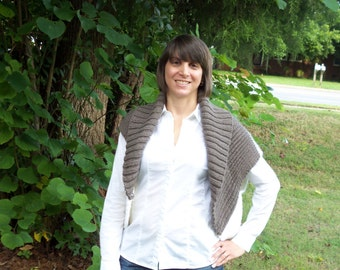 Country Morning Mocha Latte Shrug Cozy Fall and Winter wear Hand Knit