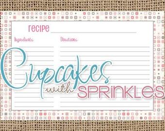 Printable Recipe Card Pink and Grey