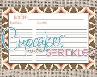 Printable Recipe Card Pink and Brown