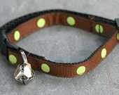 Cat Collar - Chocolate with Green Grass Polka Dots