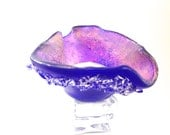 Fused   Glass Tea Light Candle Holder Royal Blue with  Crystals Small Dish 006