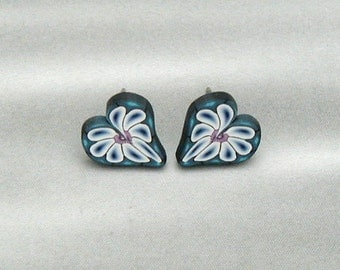 Teal, Magenta, Black & White, Daisy, Daisy...All for the Love of You, Heart Post Earrings
