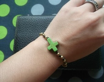 Single Gold brassGreen cross Bracelet Valentine event gift collection from Thailand/handmade jewelry /summer 2016/sea/sand/sun/Hawaii/bikini
