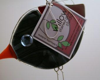 Tweet Tweet Blackbird Raven Crow Fused Glass Ornament Suncatcher with Swingy Legs