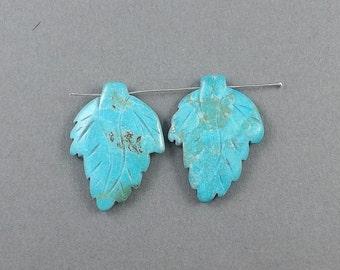 Gemstone Leaf charm-carved blue Turquoise gemstone Earring beads,7g, 30mmx20mm