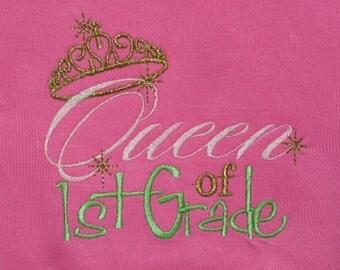 Queen of 1st Grade Pink Short Sleeve T-Shirt