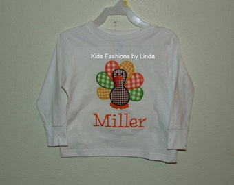 Personalized White Long Sleeve Shirt with Turkey  Applique