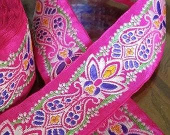 "1.25"" Vintage Palmette Beauty Vibrant Pink Jacquard ribbon trim # 404-07"