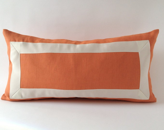 Decorative Linen Pillow Cover with Off White Grosgrain Ribbon- Decorative Throw Pillow Cover - 25x51 cm Cushion Cover