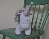 White Unicorn with White and Grey Tail and Mane
