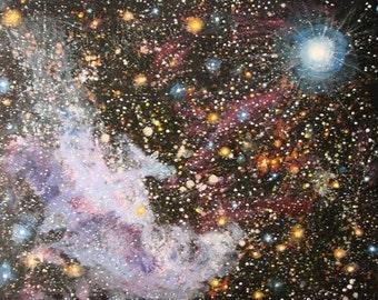 Nebula, Witchhead, nebula painting, supernova, acrylic art, deep space, art, canvas art, office art, wall art,