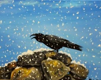 """Raven, 12"""" x 16"""" stretched canvas, bird painting, bird art, original art, wildlife art, acrylic art, wall decor, unframed art, office art"""