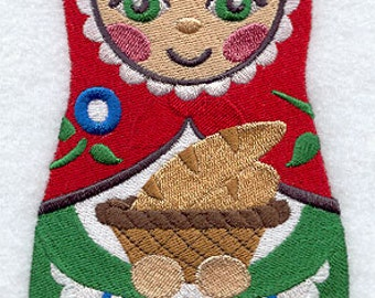 Matryoshka Doll with Bread Embroidered Flour Sack Hand Towel