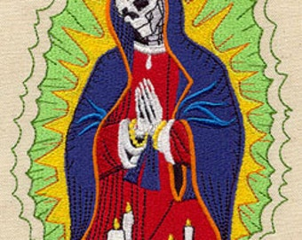 Our Lady of Guadalupe Mexican Culture Dia De Los Muertos Embroidered Flour Sack Hand Towel